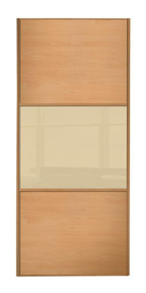 Wideline sliding wardrobe door, Beech frame, Beech-Cream-Beech